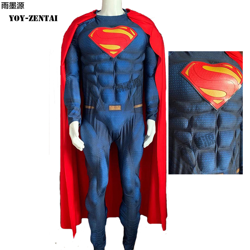 YOY-ZENTAI High Quality Emobssed Muscle Padding Superman Cosplay COstume With New Logo Muscle Padding Man Of Steel Costume