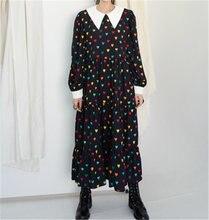 Rugod ins корейский стиль осеннее платье в горошек для женщин