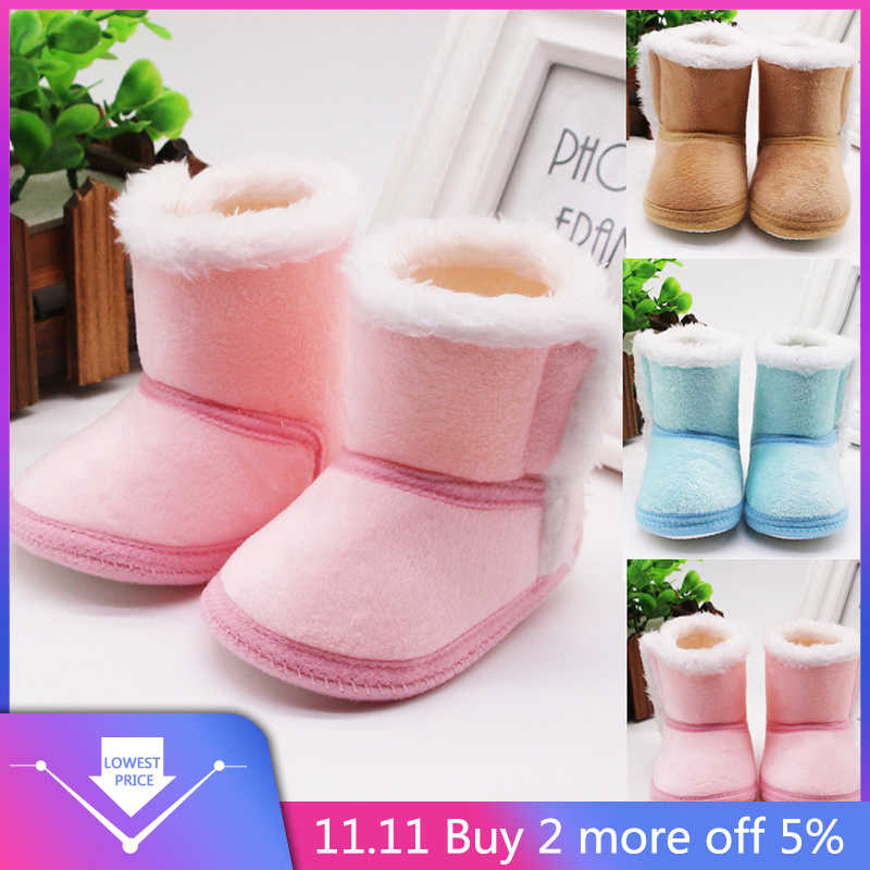 2019 Newborn Baby Girls shoe Cashmere Plush Winter Boots Bandage Warmer Shoes Sapato bota infantil kids shoe Plus velvet Infant