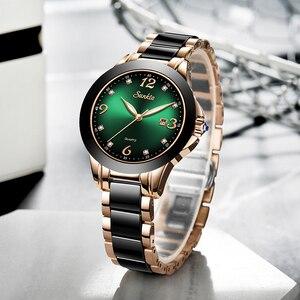 Image 3 - SUNKTA 2020 Watch Women Fashion Luminous Hands Date Lndicator Stainless Steel Strap Quartz Wrist Watches Lady Green Water Ghost