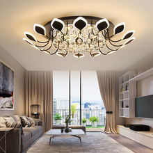Modern Crystal Large Chandelier Lights in the Bedroom Living Room Dimmable Remote Control LED Crystal Ceiling Lamps 91W modern simple duplex staircase led bubble column living room chandelier rotating villa ceiling crystal column led crystal lights