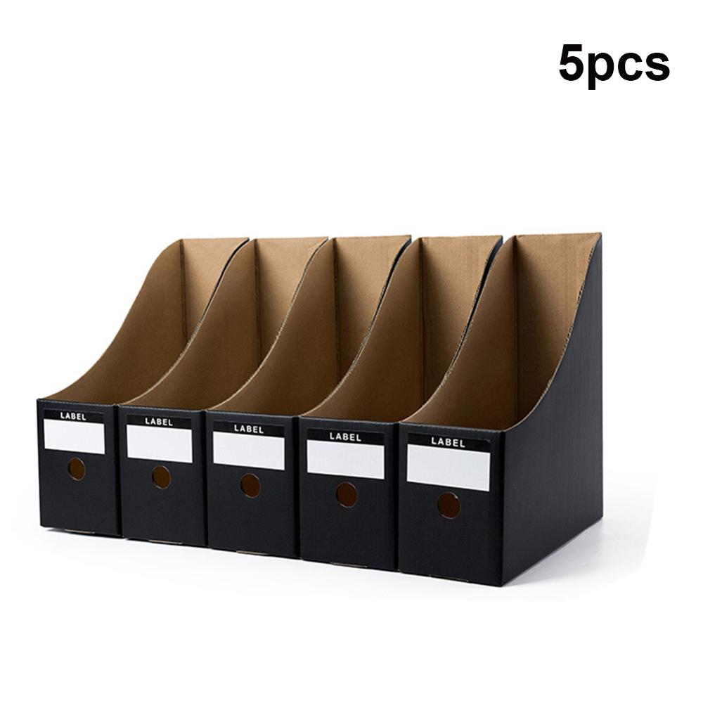 1 Pcs File Desktop Paper Material Sturdy Black Cardboard Kraft Paper Documents Box File Holder Office Supplies