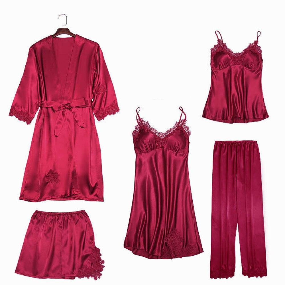 Sexy Pijamas Women's 5 Pieces Pajama Set Faux Silk Solid Pyjama Above Knee Mini Nightgowns Eleg Lace Edge Spring Autumn Homewear