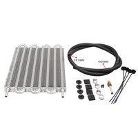 8 rij Auto Aluminium Remote Transmissie Oliekoeler Auto-Manual Olie Radiator Converter Kit Universele + Oliekoeler Pijp + Kabelbinder