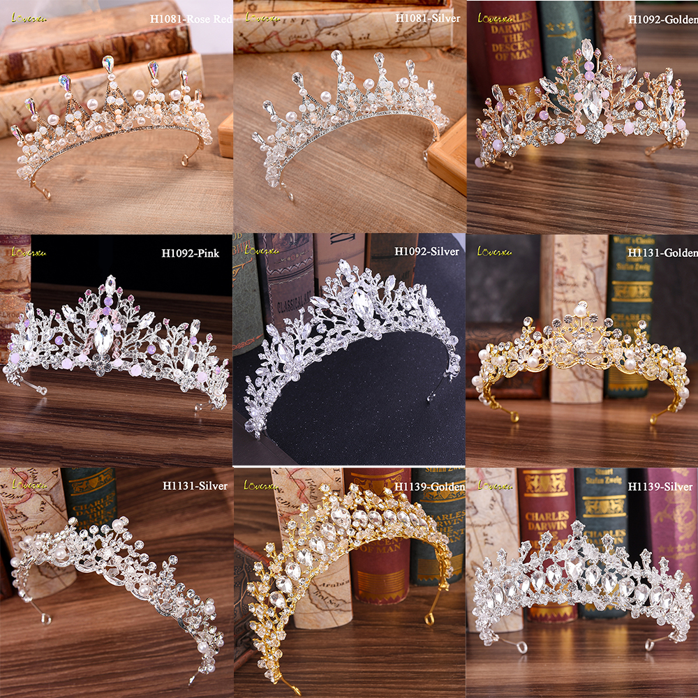 Loverxu Luxury Gold Crystal Bridal Crown Tiaras Fashion Queen For Women Wedding Crown Headpiece Wedding Hair Jewelry Accessories