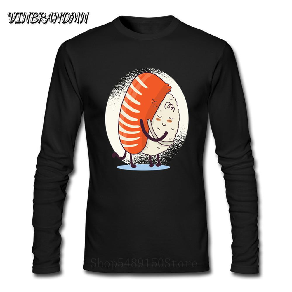 Sushi Inspired Design Custom Long Sleeve Kawaii Men T-Shirt 3D Sushi <font><b>Hug</b></font> Japanese <font><b>Tshirt</b></font> Teenage Hipster Summer Soft Cotton Tees image