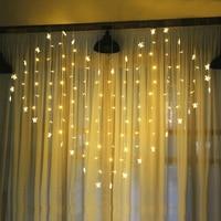 Cortina de luz LED con forma de corazón y mariposa, 220V, guirnalda de luces, fiesta, Navidad, cuento de hadas, decoración de boda