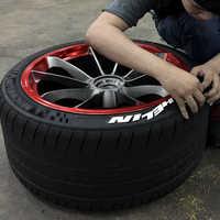 SKYEO Auto Aufkleber Reifen 3D Gummi Reifen Letterings Auto Tuning Decals Universal Brief Aufkleber Weiß Gummi Auto Räder 3D Logo