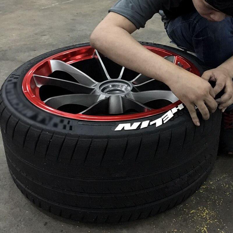 Skyeo etiqueta do carro pneu de borracha 3d letterings carro tuning decalques universal carta adesivos borracha branca auto rodas logotipo 3d