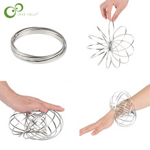 1pc Magic Bracelet Aniti-stress Magic Toroflux Funny Flow Ring Kinetic Spring Toys 304 Stainless Steel Flow Color Rings Toys ZXH(China)