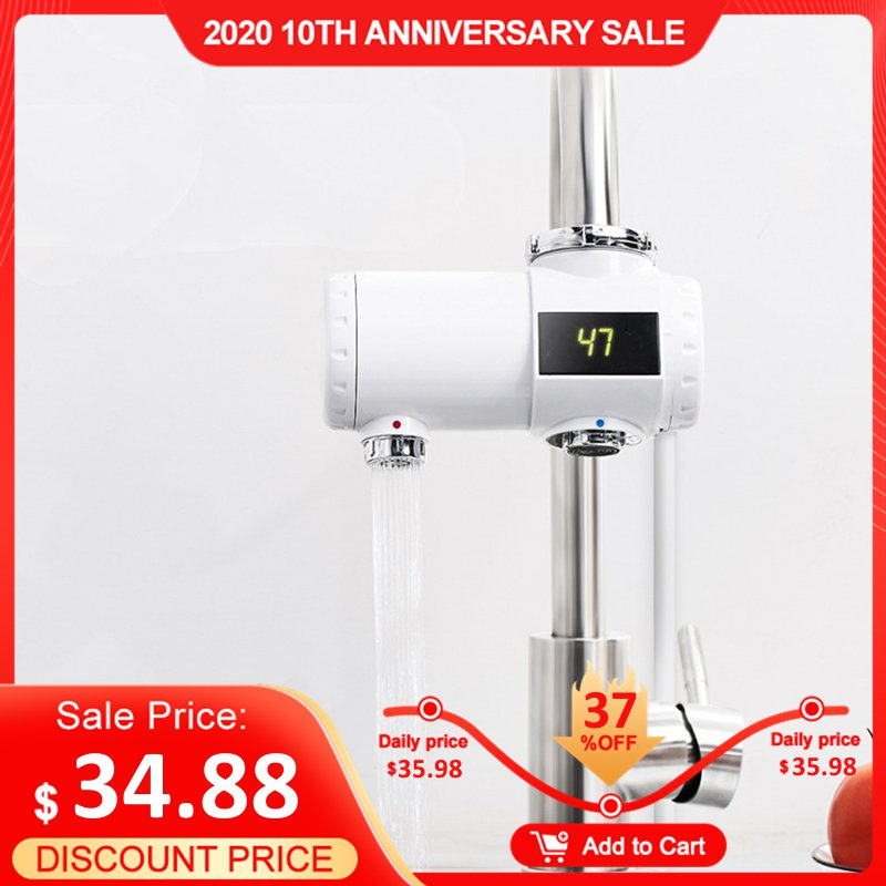 220V 3000W Electric Hot Water Heater Faucet 3s Fast Instant Heating Bathroom Kitchen Hot Cold Mixer LED Display