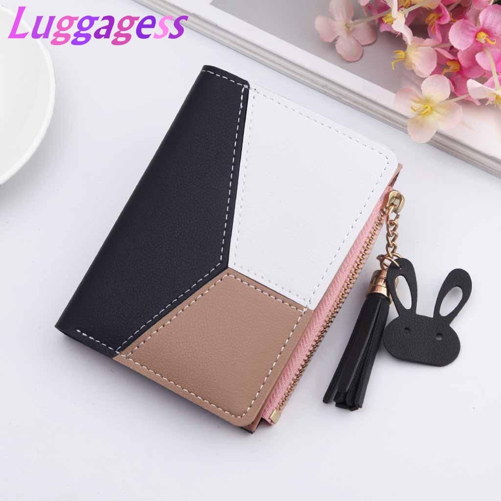 New Leather Wallet Women Short Zipper Ladies Purse Money Bag Coin Pocket Patchwork Cute Feminine Wallets Clutch Card Holder