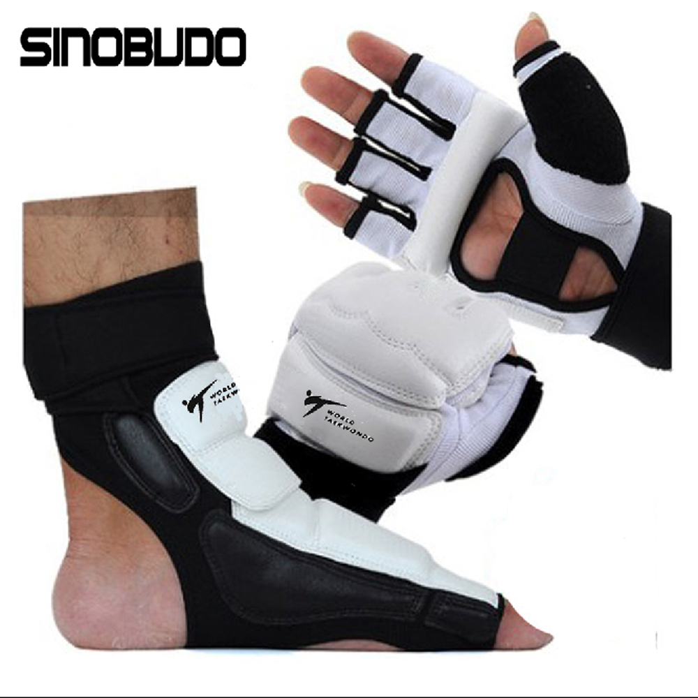2020 WT Taekwondo Pu Hand Gloves Foot Socks Protector Guard Boxing Karate Ankle Palm Protector Guard Gear Suit Adult Kids