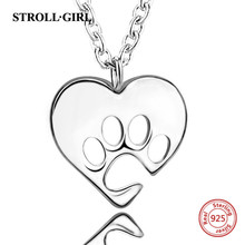 StrollGirl genuine sterling silver 925 love heart dog footprint pendant necklaces women sterling silver jewelry цена в Москве и Питере