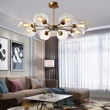 Lámpara de araña de cristal moderna para decoración del hogar, colgante para comedor, lustre, creativa, para sala de estar, luz de arañas LED simple