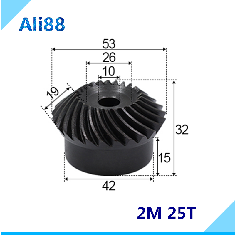 Precision spiral bevel gear 2 Mod  25 Teeth  2M25T inne holel diamter 10mm Applied to mechanical equipment and cnc machine|Gears| |  - title=