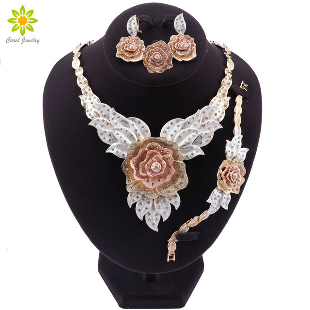 Dubai Gold Color Flower Necklace Earrings Set Fashion Nigerian Wedding African Beads Jewelry Sets Costume Dubai For Women