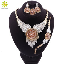 Dubaj złoty kolor naszyjnik kwiatowy kolczyki zestaw moda ślub nigeryjski koraliki afrykańskie zestawy biżuterii kostium dubaj dla kobiet