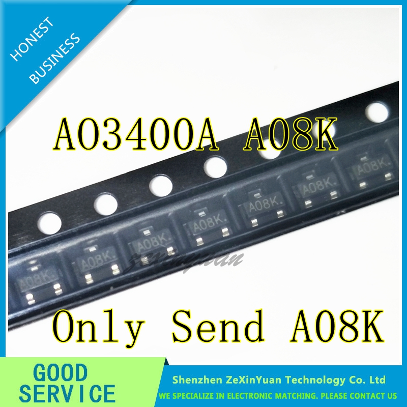 50PCS/LOT AO3400 AO3400A A08K SOT-23 MOS Integrated Circuit
