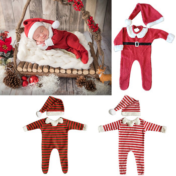 Christmas Newborn Photography Props Suit Cute Hat Jumpsuit Set Baby Boys Girls Photo Shooting Costume Outfits