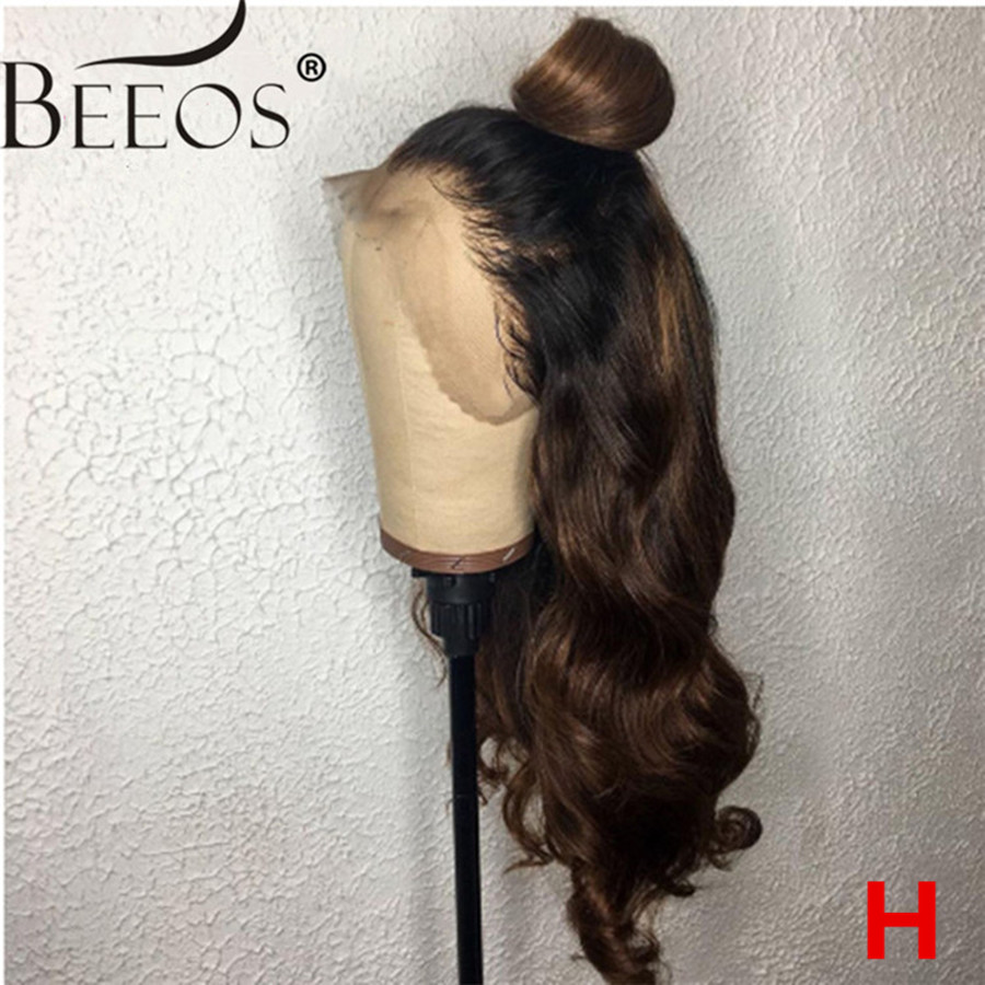 13*6 150% Deep Part Lace Front Human Hair Wigs Body Wave Ombre Brown Brazilian Remy Hair Wigs Pre Plucked Bleached Knots