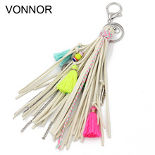 VONNOR Jewelry Keychain Multi-layer Velvet Rope Chain Alloy Tassel Pendant Charm Key Chains Bohemian Accessories for Women Girl 50pcs zinc alloy plating silver angel girl charm rotating lobster keychain key chain fit fashion jewelry findings for women f551