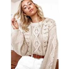 Boho Inspired Sweater Women Loose Knitted Pullover Jumper Woman Winter 2019 Autumn Streetwear Plus Size Beige Pull Femme