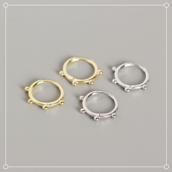 Classic Small Round Beads Gold Hoop Earrings Punk Simple Circle Earring Women Jewelry 925 Sterling Silver Earrings Ear Clip A30 925 sterling silver earring gold hoop earrings small hoop earrings hoop earrings for women silver hoop earring round earrings