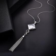 Мода женщин леди большой горный хрусталь кристалл квадратный кулон длинная цепь кисточка свитер ожерелье вечерние ожерелье ювелирные изделия