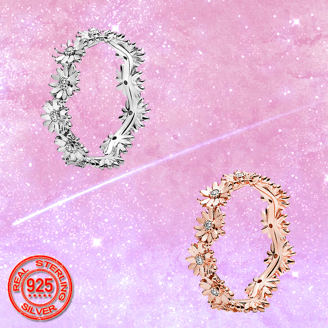 2020 New Sale 925 Sterling Silver Sparkling Daisy Flower Crown Finger Ring For Women Girl Original Brand Jewelry Fine Gift