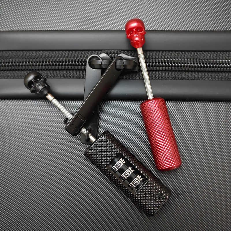 Wysokiej jakości metalowa walizka bagażowa zamki nowy kreatywny projekt czaszki drut stalowy walizka kłódka podróż z zabezpieczeniem przeciw kradzieży trzy cyfry zamek szyfrowy