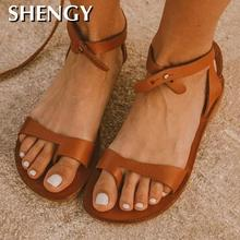 2020 Women Summer Sandals New Buckle Strap Flat Sandals