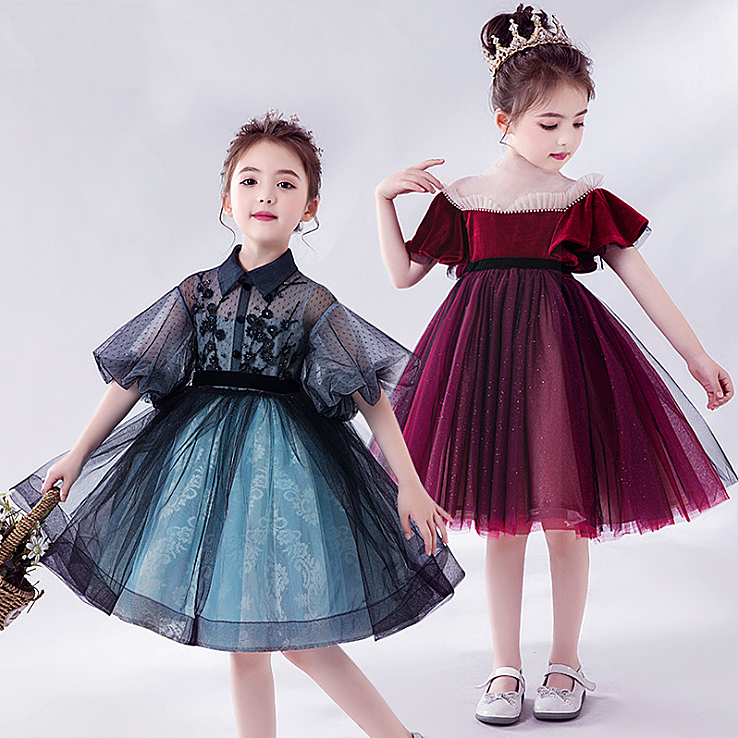 3330 Lantern Sleeve Embroidery Princess Baby Girl Dress Spring Summer Party Wedding Kid Dress For Girl Wholesale Child Clothes