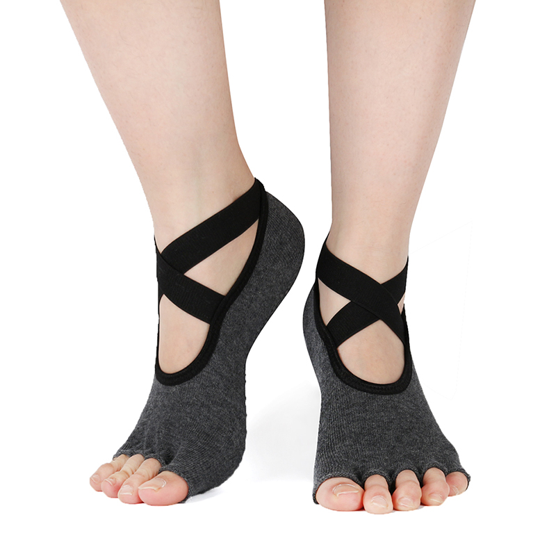 Half Toe Ballet Socks Low Cut Yoga Breathable Grip Dance Slippers Sports Gym 5 Fingers Socks Women Cotton Pilates Sock Fitness