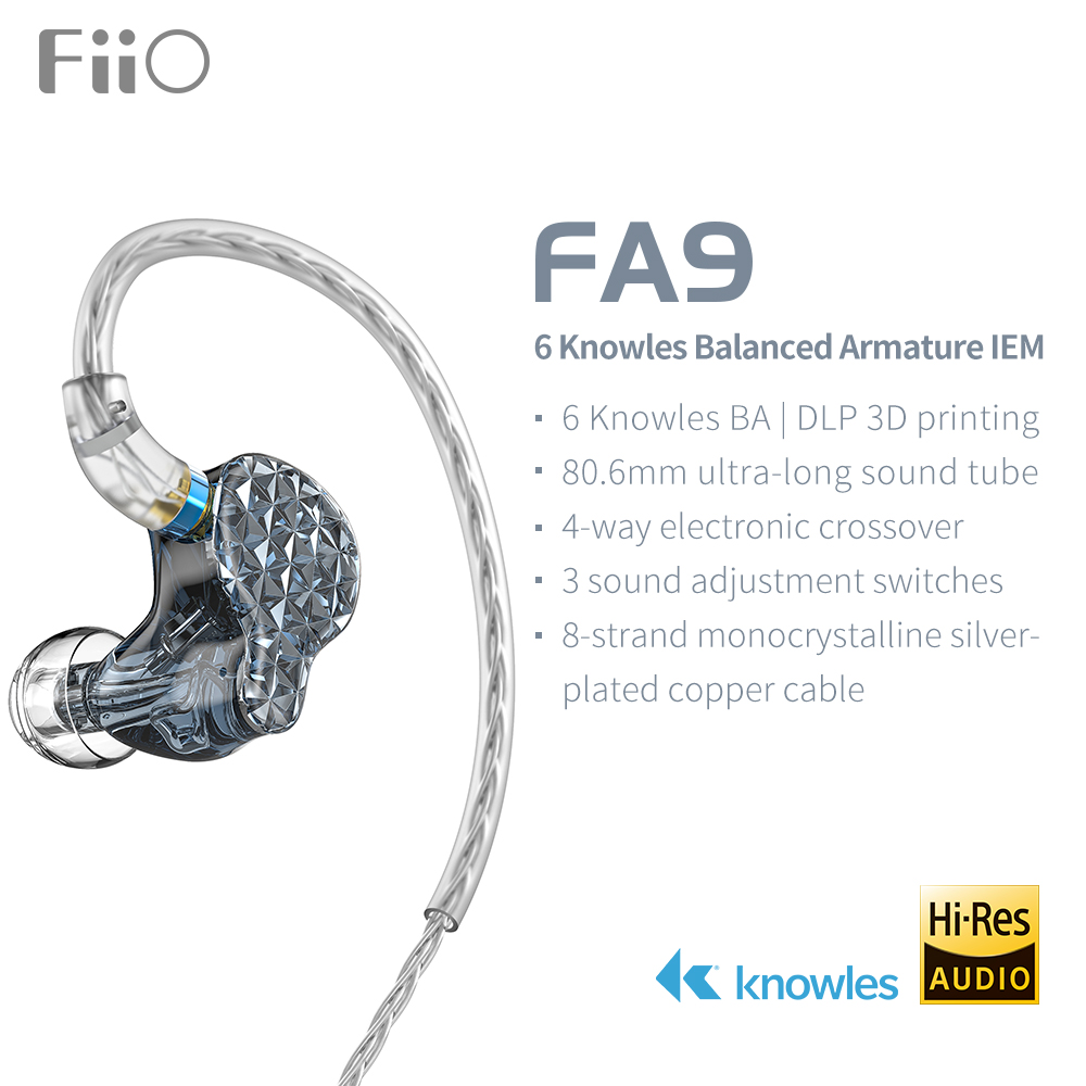FiiO FA9 Knowles 6 Balanced Armature Driver In-Ear HiFi Earphones With Detachable MMCX Silver-Plated Copper Cable