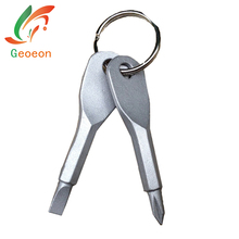 1Set Outdoor Stainless Tool Multi-function Key Screwdriver Gear With Chain New Cross+Word A39