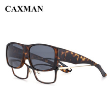 CAXMAN Polarized Fits Over Glasses Sunglasses Wear Over the Prescription Glasses Glossy Medium Size for Men Women cheap Square Adult Plastic Polaroid CX34007 Eyewear