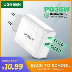 Ugreen 36W быстрое зарядное устройство USB Quick Charge 4,0 3,0 Type C PD Быстрая зарядка для iPhone 11 USB зарядное устройство с QC 4,0 3,0 зарядное устройство для телеф...