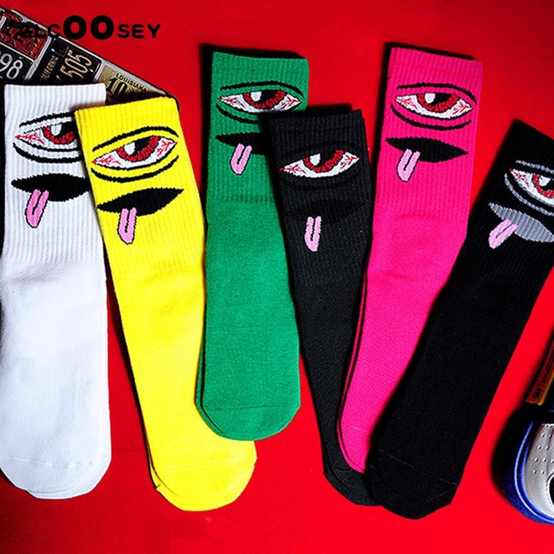 Men Street Trends Hip Hop Couple High-top Cotton Socks Harajuku Cartoon Happy Funny Personality Fashion Skateboard Female Sock