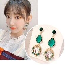 MENGJIQIAO Korean TV Star Vintage Green Crystal Oval Drop Earrings For Women Students Fashion Oorbellen Party Jewelry Gifts