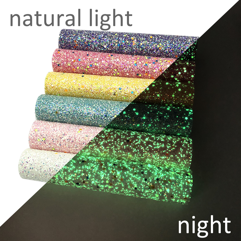 David Accessories 6pcs/Set 20*34cm Glow In The Dark Chunky Glitter Fabric Synthetic Leather DIY Bag Shoes Material,1Yc7398