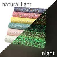 David acessórios 6 pçs/set 20*34 centímetros Brilham no Escuro Chunky Glitter Tecido DIY Saco de Sapatos de Couro Sintético material, 1Yc7398