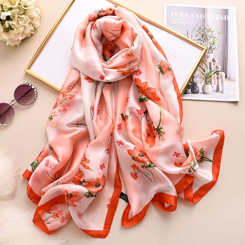 Silk Scarf For Women Designer Print Foulard Pashmina Hijab Scarves Lady Brand Shawls And Wraps Gift Large Smooth Svarrfs