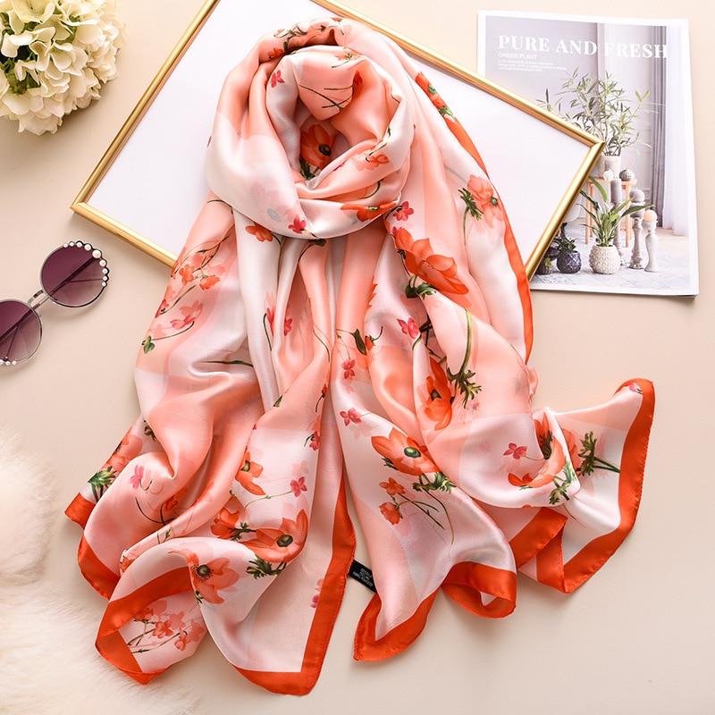 Silk Scarf For Women Designer Print Foulard Pashmina Hijab Scarves Lady Brand Shawls And Wraps Gift Large Smooth Svarrfs