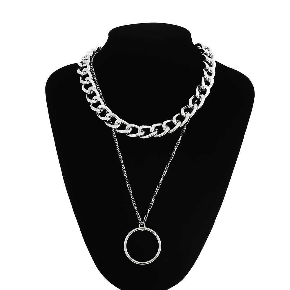 2019 nowa z łańcuchem naszyjnik kobiety/mężczyźni punk rock koło naszyjnik Vintage emo grunge Goth biżuteria