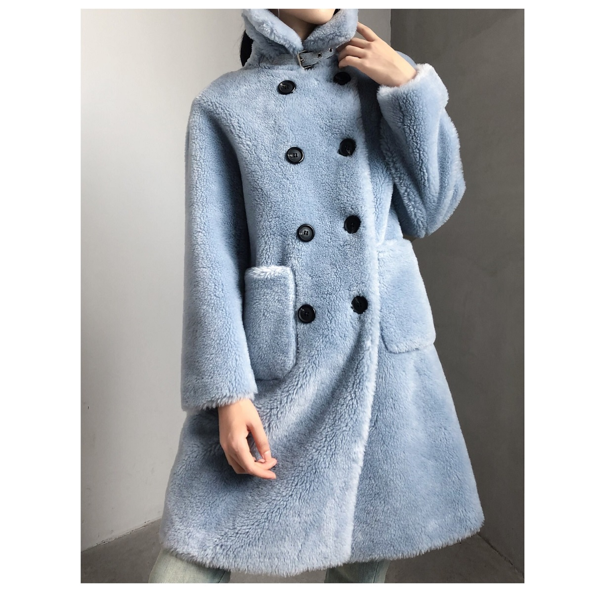 OFTBUY 2019 New 100% Wool Content Woven Fabric Coat Winter Jacket Women Parka Double Breasted Thick Warm Loose Outerwear Brand