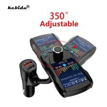 Araba şarjı kablosuz Bluetooth Handsfree kiti 350 dönebilen araç MP3 ses 5V 2.1A çift USB şarj renkli ekran FM verici