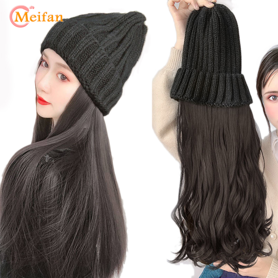MEIFAN Long Straight/Wavy Knitted Hat Wig Black Brown Wig And Hat Natural Connection Synthetic Hair Female Full Headdress