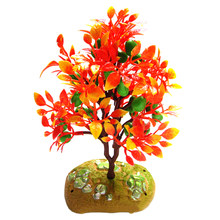 10pcs 17cm Artificial Plastic Gardening Plant Decoration Red Leaves Fruit Trees Miniature Model Trees For DIY House Decor(China)