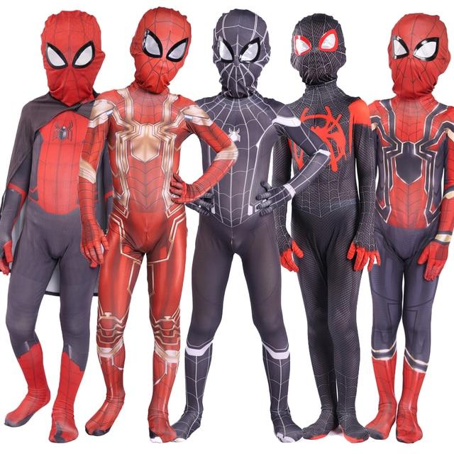 Kids Spider Zentai Unisex Halloween Zentai Cosplay Costume Spider Spandex Lycra Bodysuit Jumpsuits Iron Spider
